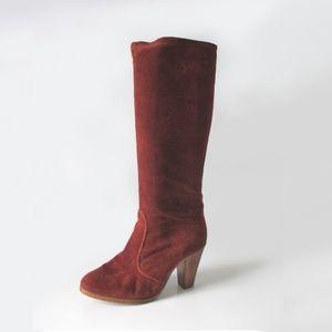 Vintage 70's Cinnamon Suede Knee High Boots 8.5